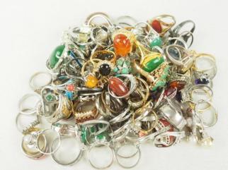 指輪 大量セット まとめて 約400g リング 真珠 琥珀 色石色々 シルバー 等 044