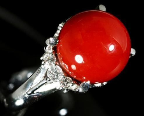 【極美】【定価300万】PT900 超希少 最高級 血赤珊瑚 ダイヤモンド リング 指輪《最上級Sランク サンゴ》(返品対応可 天然石 Z273-6-2