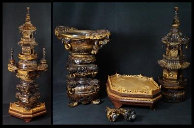 中国古玩 唐物 虎目石 特大 遊環 香炉 特大 高さ86cm 細密細工 彫刻 大香炉 極上品 タイガーアイ 中国美術