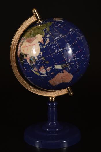 【雲】希少 天然石装飾 豪華卓上地球儀 ラピスラズリ 高さ41cm (置物オブジェインテリア)CC639 DB324f