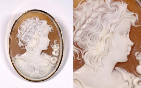 ∇花∇西洋カメオ芸術 シェルカメオブローチ「高貴な貴婦人の横顔」 豪華K18金枠 作者彫サインあり