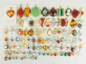 豪華 ペンダント トップ 100点以上 珊瑚 真珠 琥珀 等 925 色石色々 024 シルバー多数 SILVER