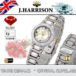 新品正規品J.HARRISON ジョンハリソン ホワイトセラミック 4石天然ルビー付 18金張りゴールドリューズ紳士用メンズ腕時計プレゼント