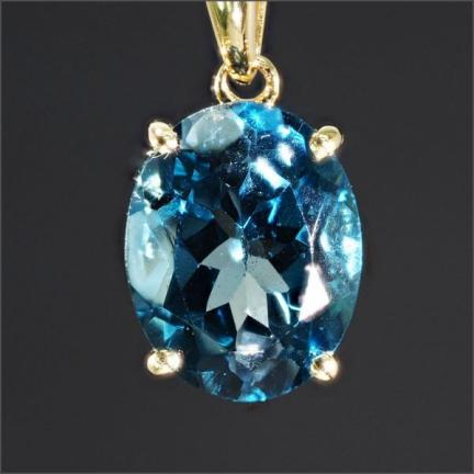 【18金】 ロンドン ブルー トパーズ ネックレス 【定価20万】 18K YG 刻印有 一粒 天然石 ゴールド topaz necklace No.3-RGPH-11LBT