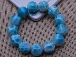 H3660 天然石★ドミニカ共和国産の50Aラリマー★ブレス17-18mm