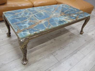 希少 ゴールド静脈 水色オニキス 大理石 高級センターテーブル 猫脚 ブルーオニキス リビングテーブル